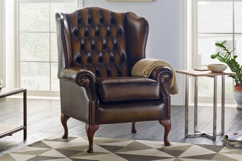 Mẫu ghế armchair bọc da sang trọng