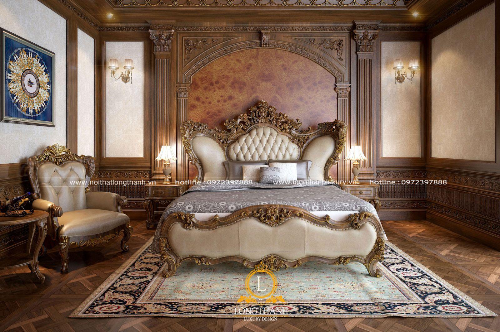 Phòng ngủ cổ điển với gỗ tự nhiên cho nhà biệt thự sang trọng