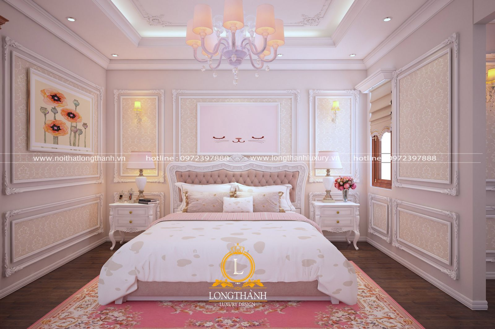Màu hồng thơ mộng cho nội thất phòng ngủ
