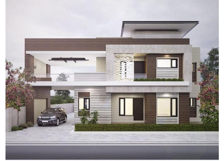 Mẫu thiết kế nhà biệt thự phố 2 tầng đẹp có mặt tiền rộng