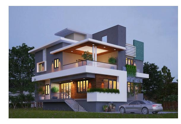 Thiết kế nhà biệt thự 2 tầng với phong cách hiện đại độc đáo và sinh động