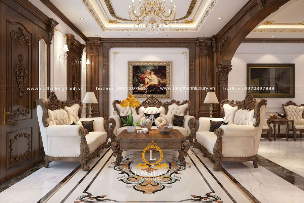 Màu nâu của nội thất phòng khách