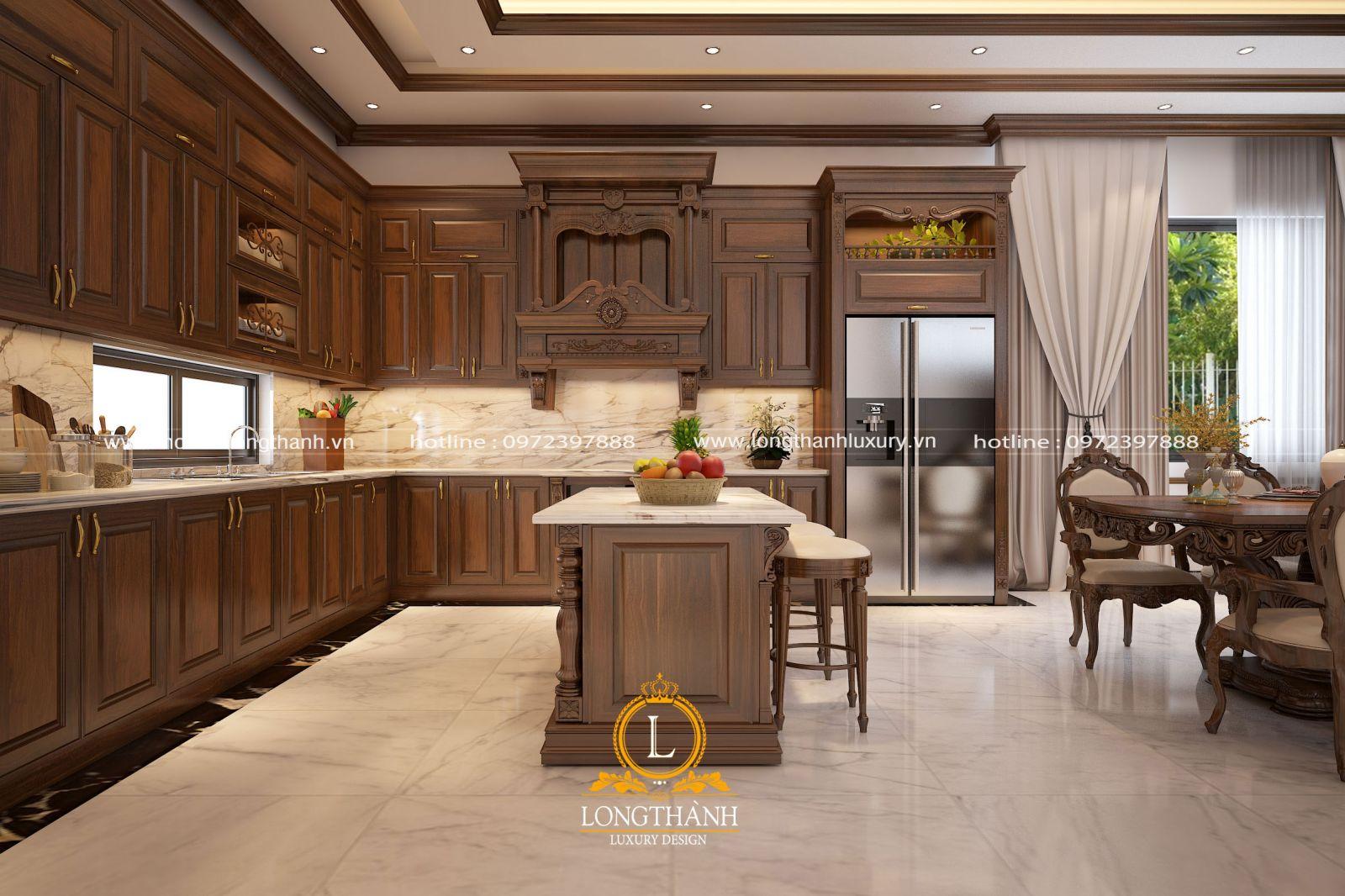 Bộ tủ bếp tân cổ điển đẹp được thiết kế và bố trí cân đối hài hòa cùng không gian