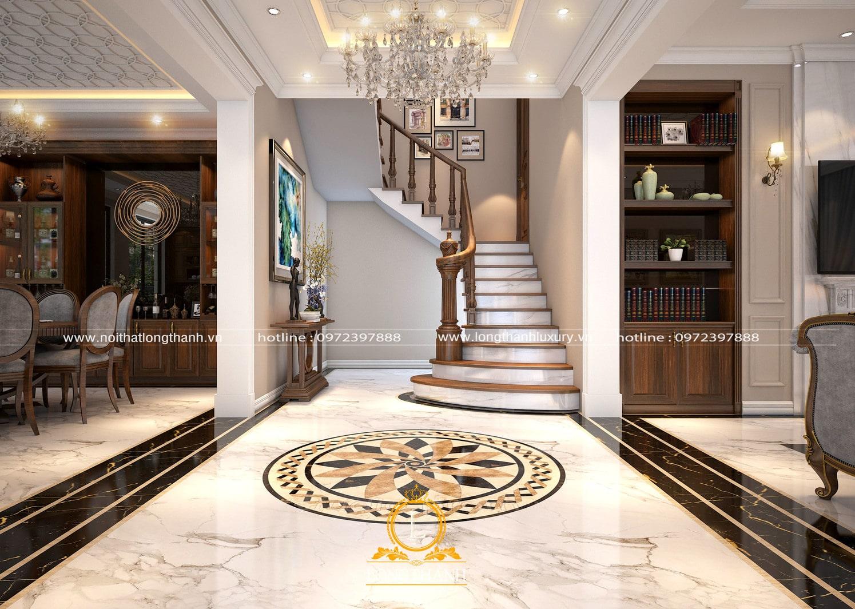 Thiết kế phòng khách tân cổ điển hiện đại LT10 góc nhìn 1