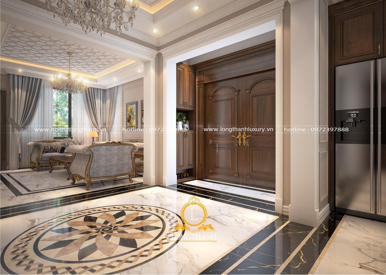 Thiết kế phòng khách tân cổ điển hiện đại LT10 góc nhìn 2