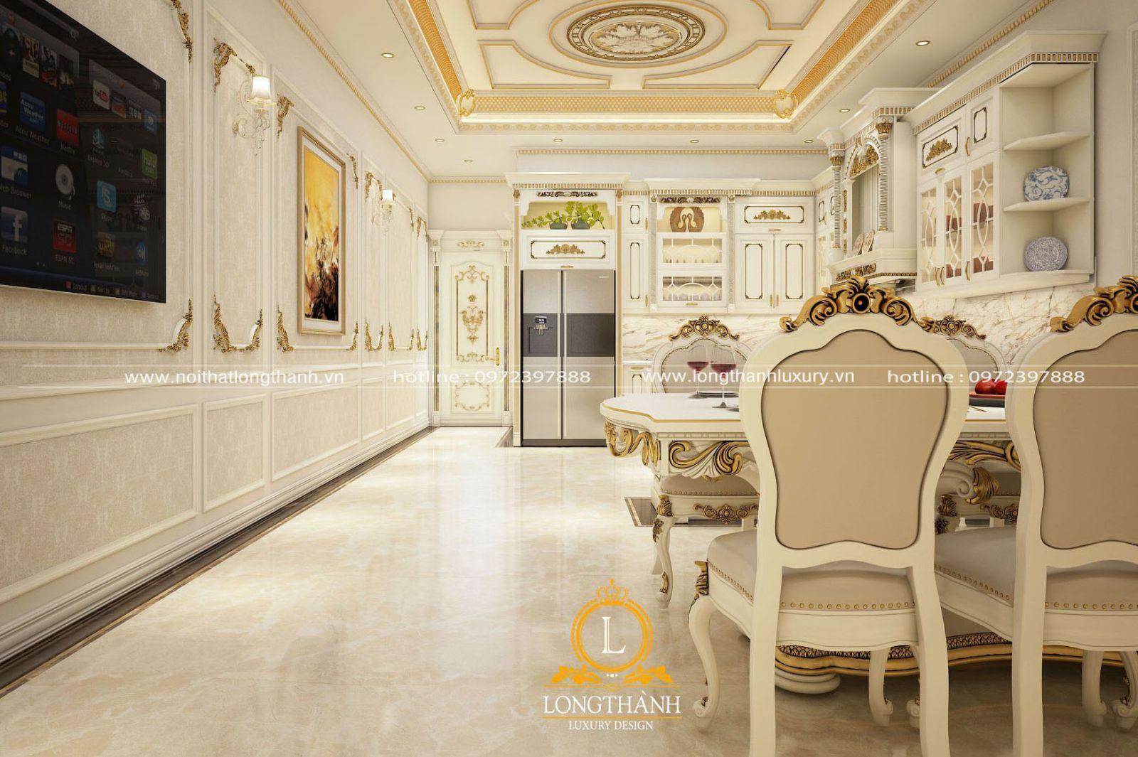 Mẫu phòng bếp nhà phố cùng tủ bếp tân cổ điển màu trắng