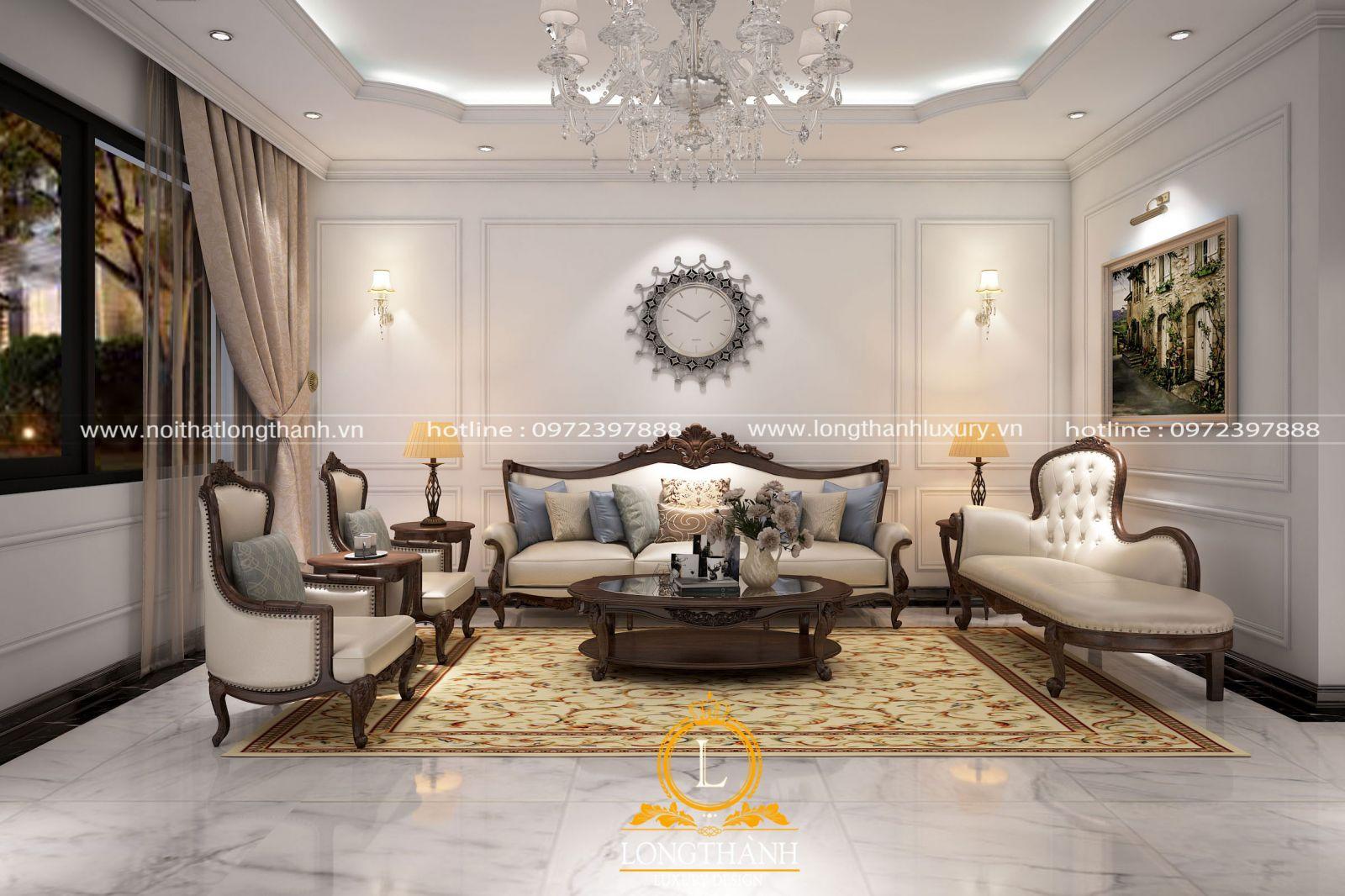 Đèn chùm tân cổ điển trong không gian phòng khách