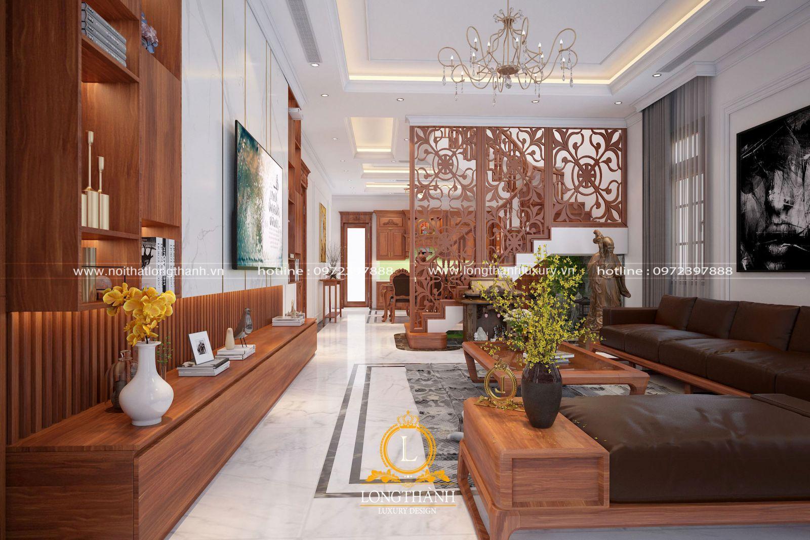 Không gian sang trọng thoáng đãng của phòng khách biệt thự được thiết kế theo phong cách hiện đại