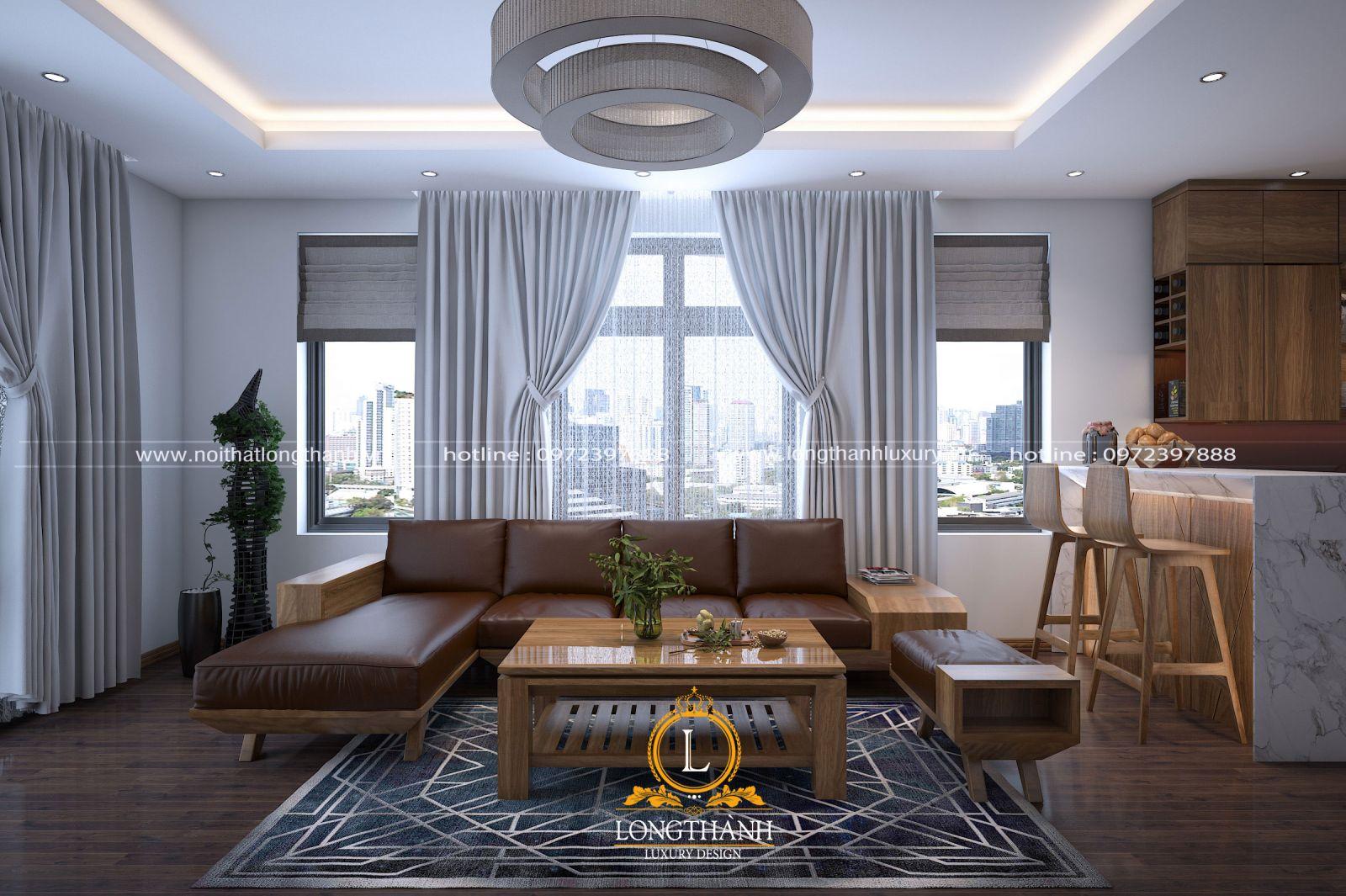 Thiết kế phòng khách hiện đại sang trọng từ gỗ óc chó