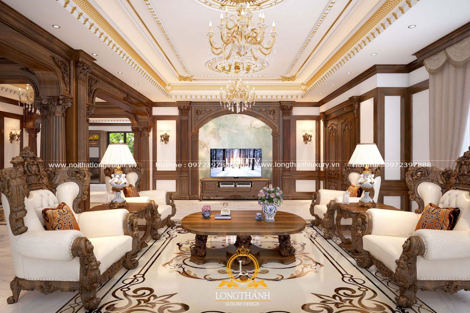 Mẫu phòng khách tân cổ điển đẹp cho biệt thự song lập
