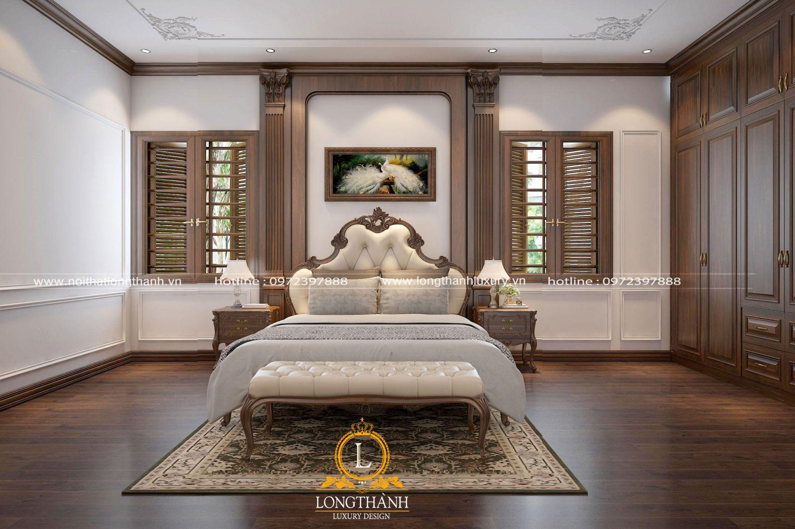 Phòng ngủ cao cấp với chất liệu gỗ và da tự nhiên cao cấp