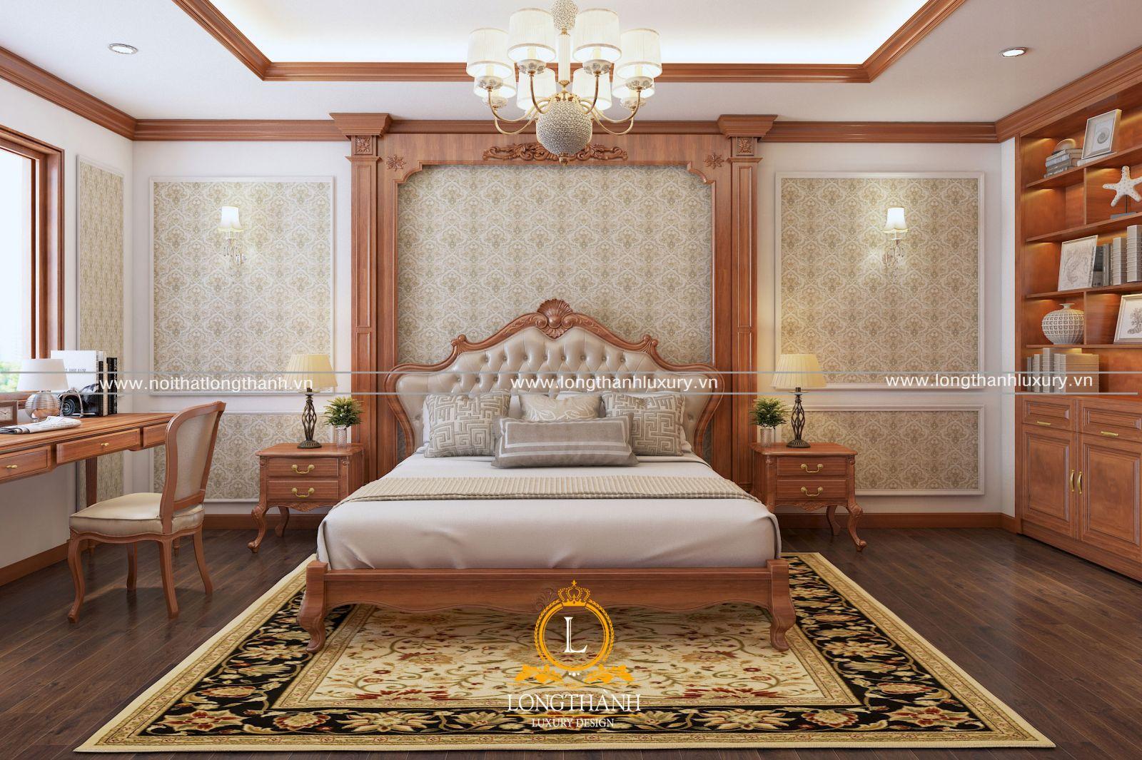 Mẫu phòng ngủ cao cấp với nội thất gỗ tự nhiên ấn tượng
