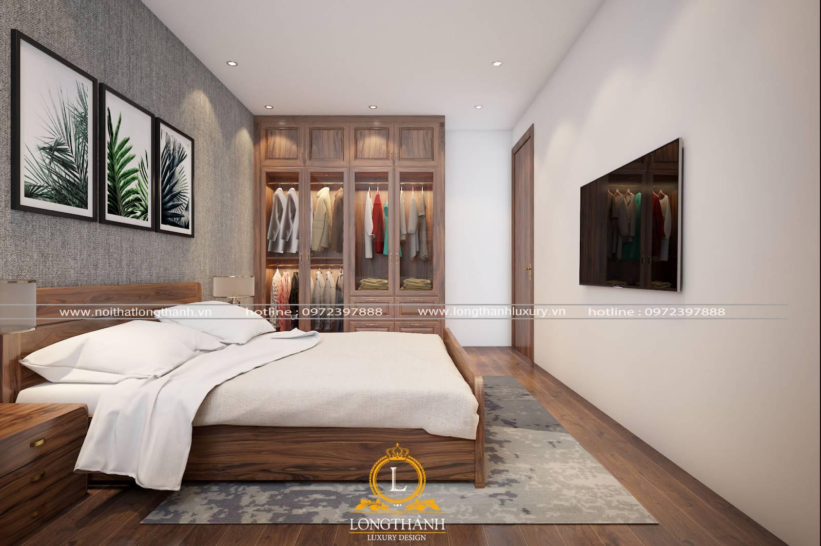 Mẫu phòng ngủ hiện đại đơn giản tiện lợi cho không gian nhà ống hẹp