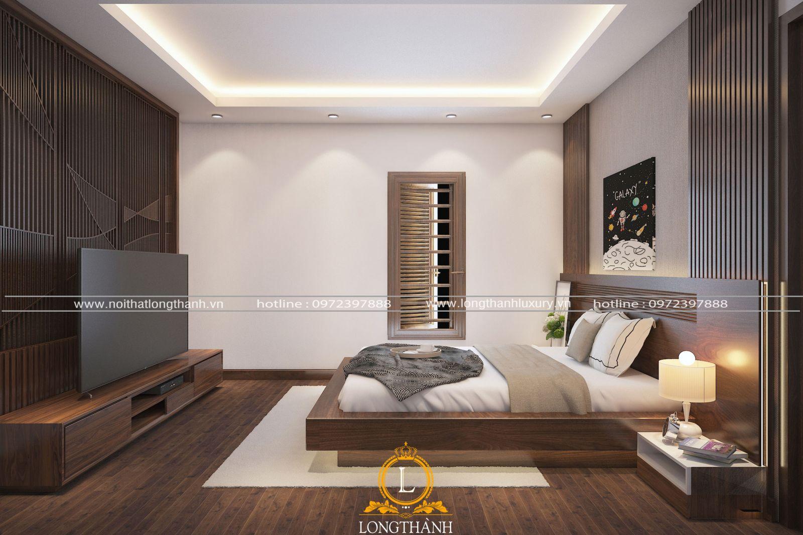 Mẫu phòng ngủ hiện đại gỗ Óc chó được ưa chuộng