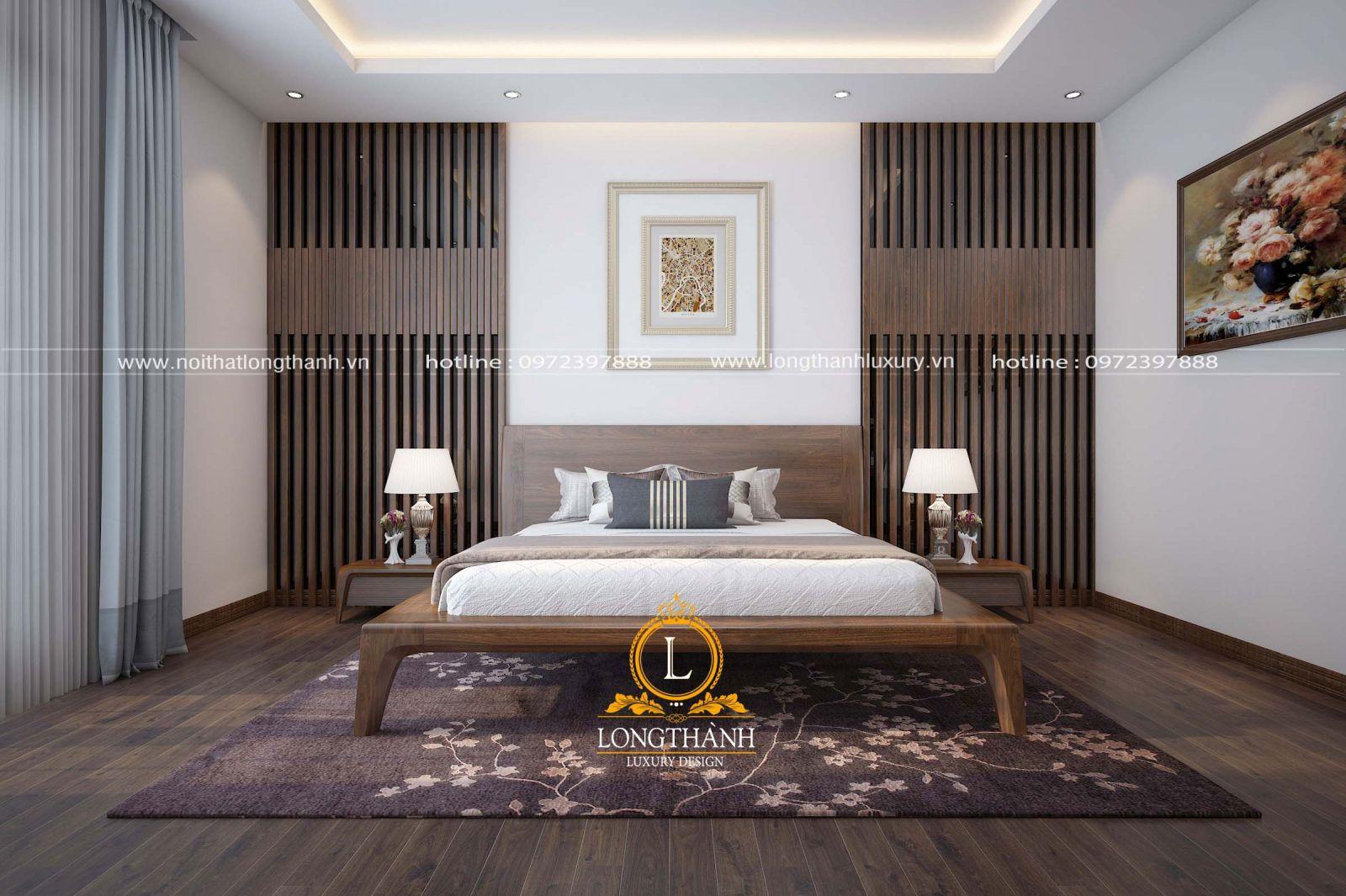 Mẫu phòng ngủ đẹp hiện đại bằng gỗ óc chó