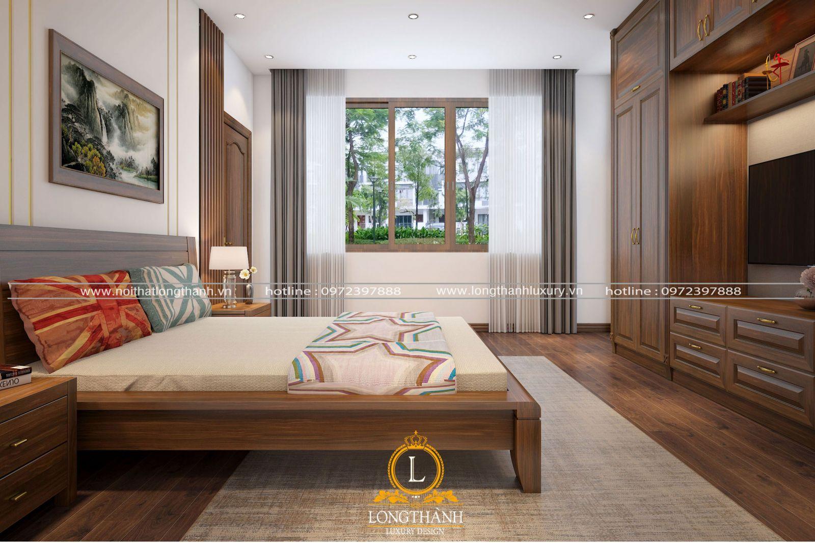 Không gian phòng ngủ hiện đại nhỏ được bố trí gọn gàng và ngăn nắp