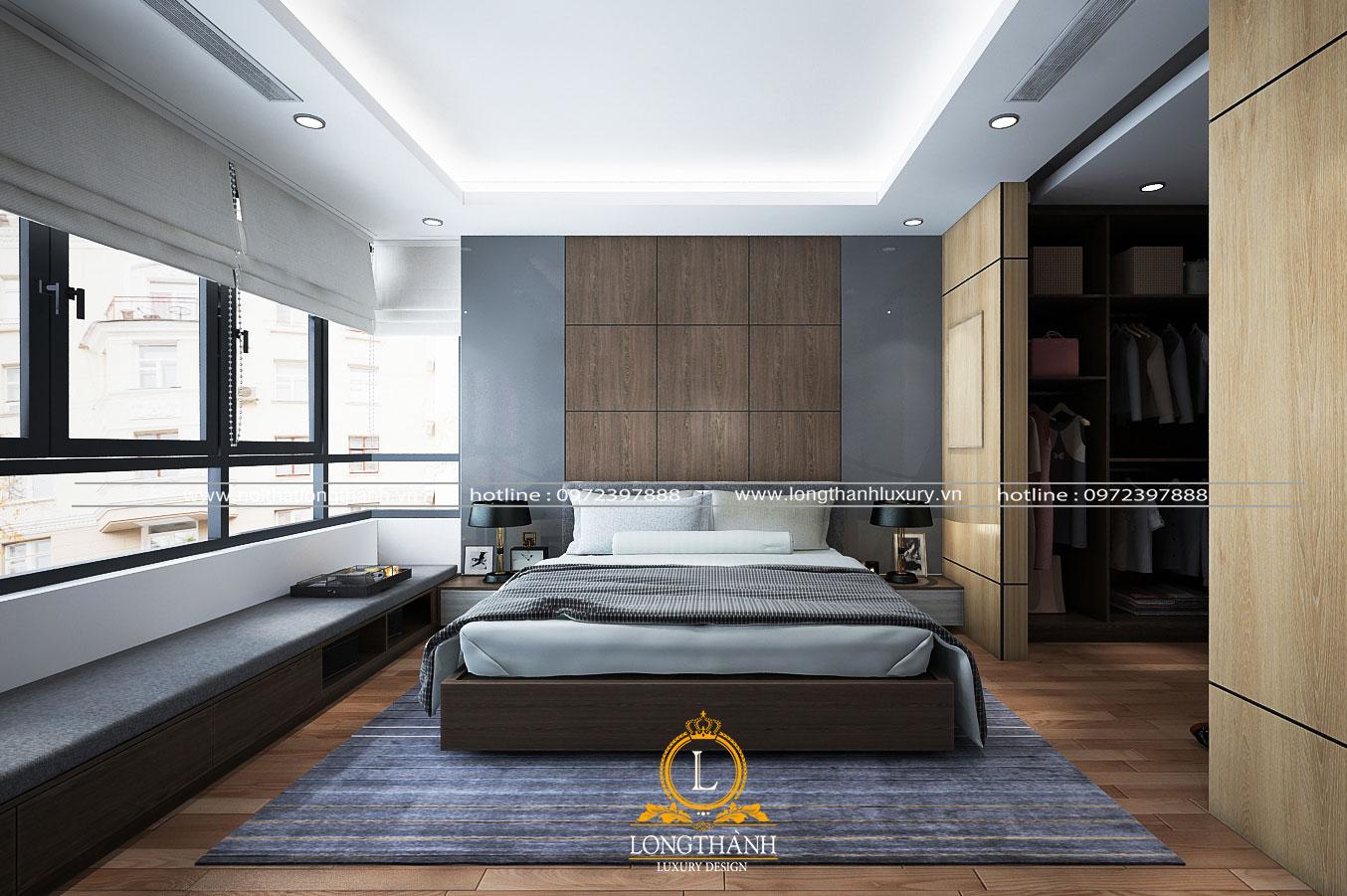 Thiết kế nội thất phòng ngủ hiện đại tiện lợi với diện tích 18m2
