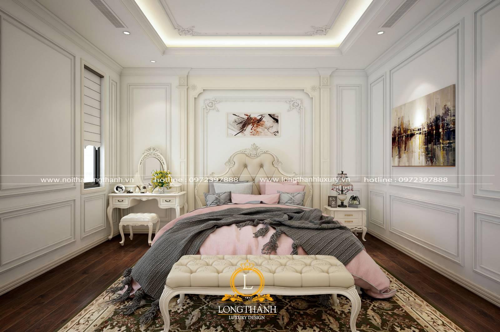 Mẫu phòng ngủ master tân cổ điển dành cho nữ nhẹ nhàng tinh tế