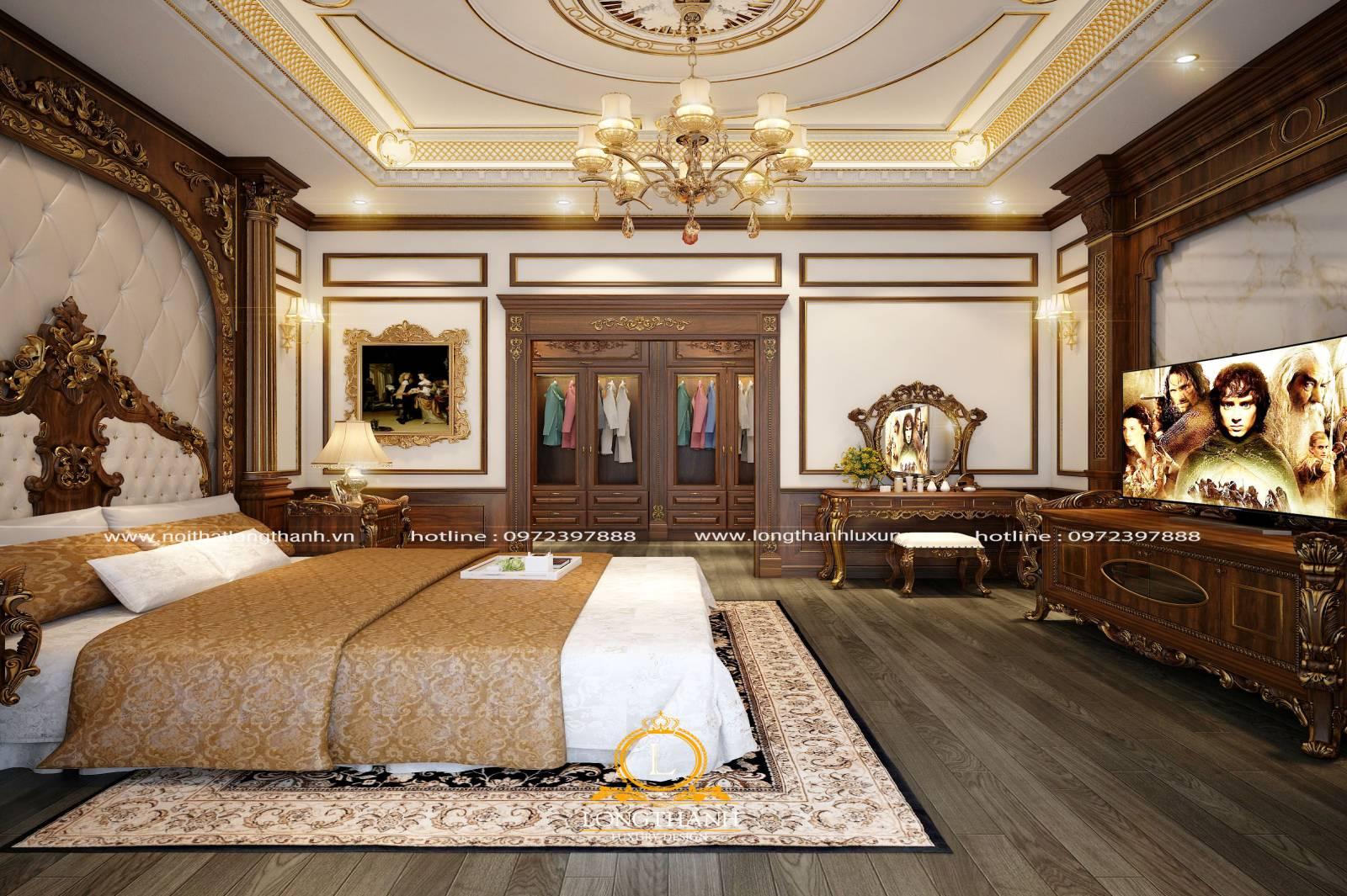 phòng ngủ cao cấp gỗ Gõ sơn nâu