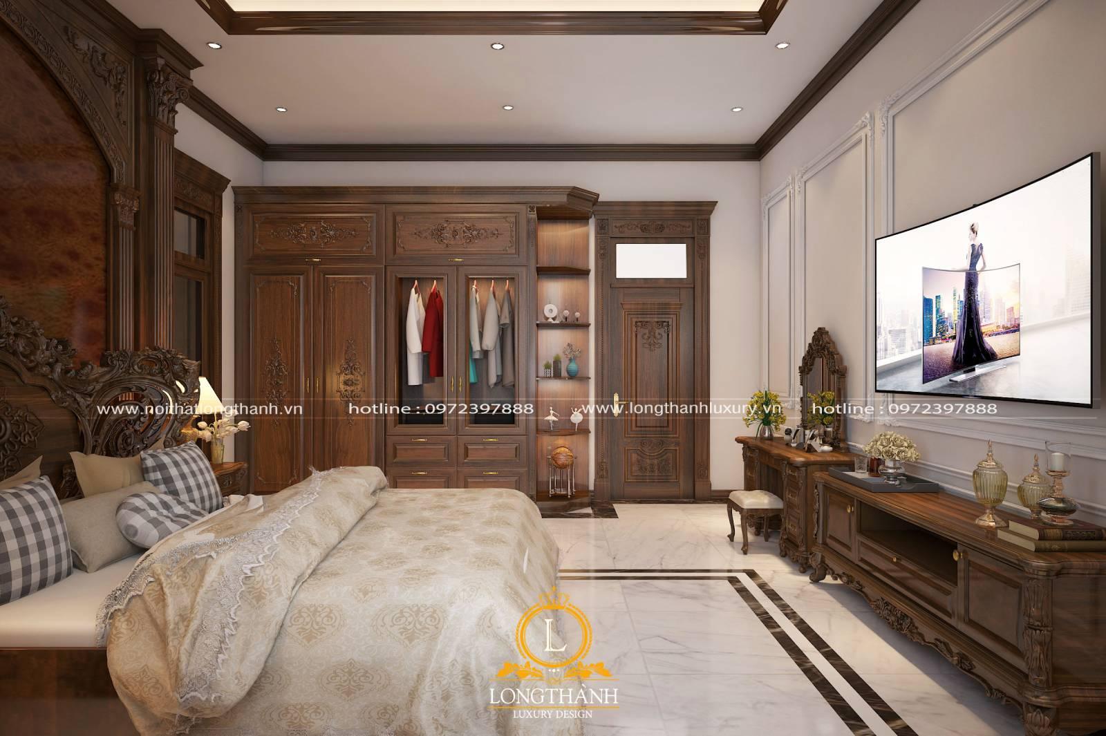 Mẫu phòng ngủ master tân cổ điển sử dụng hoàn toàn gỗ tự nhiên