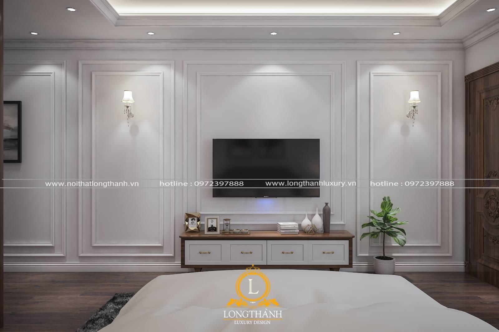 Mẫu kệ tivi phòng ngủ được thiết kế theo phong cách hiện đại đơn giản