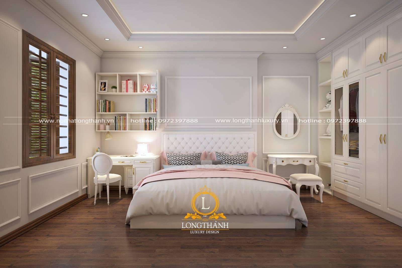 Mẫu phòng ngủ tân cổ điển đẹp màu trắng với đồ nội thất đơn giản tiện lợi