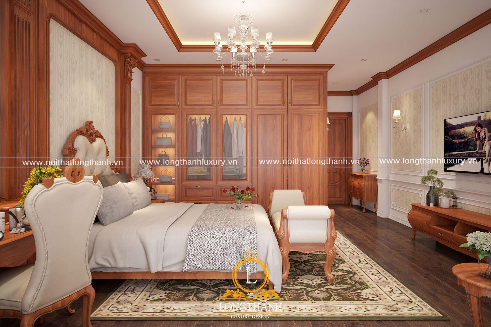 Nội thất phòng ngủ tân cổ điển được tích hợp đầy đủ công năng