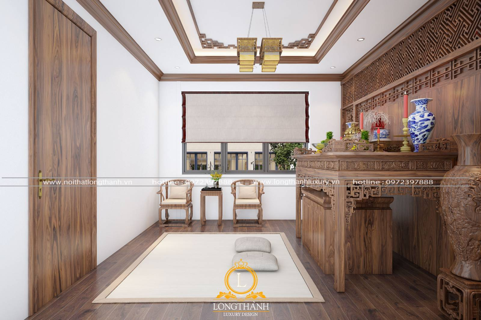 Thiết kế nội thất phòng thờ đơn giản cho không gian nhà phố hẹp