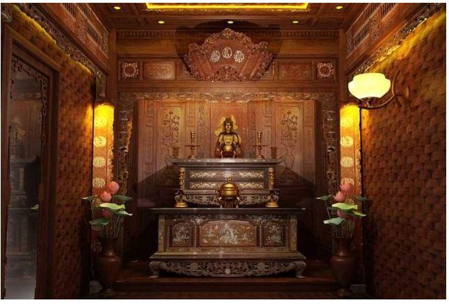 Thiết kế phòng thờ phật cổ điển sang trọng tôn nghiêm