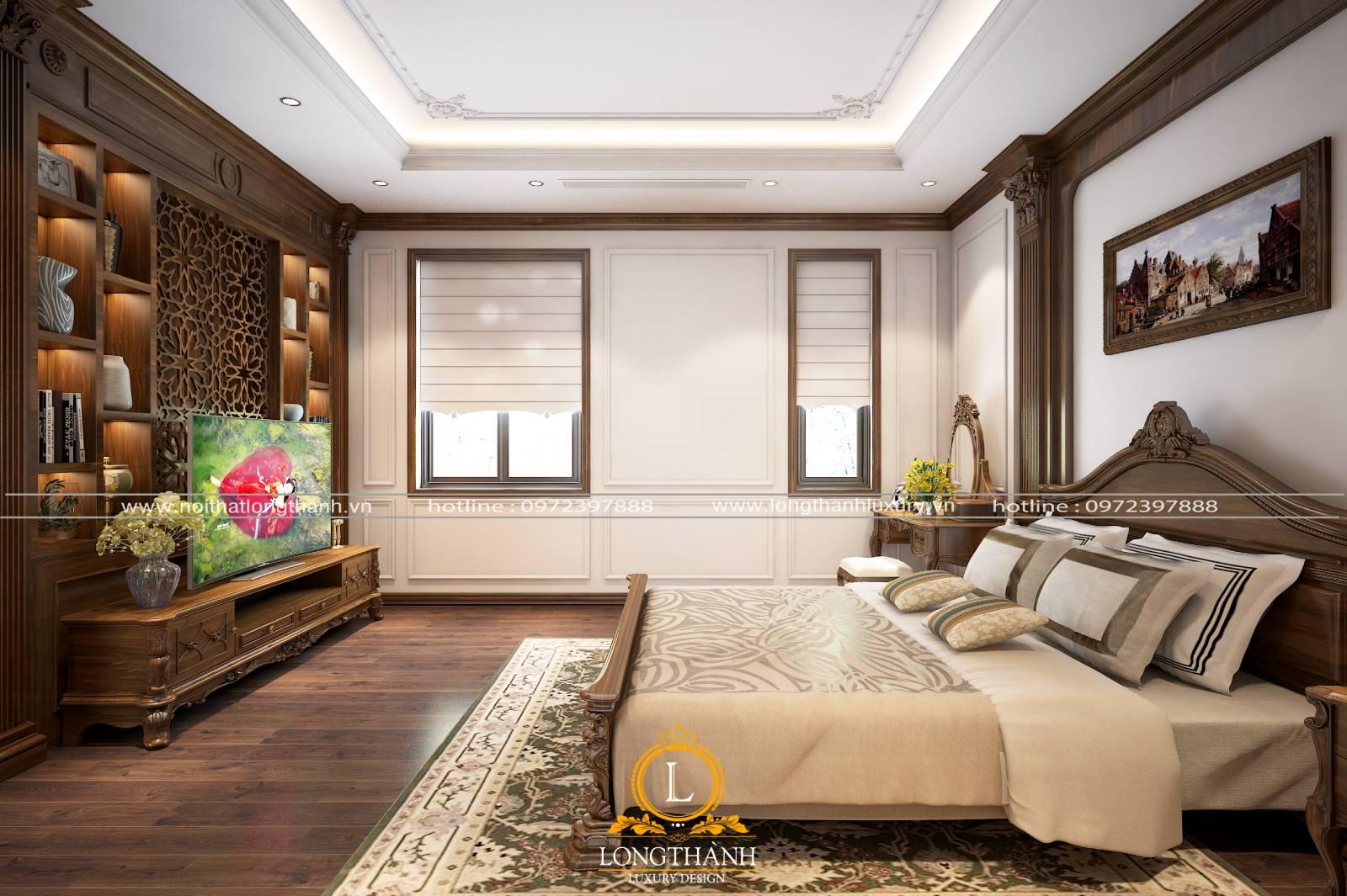 Màu sắc đồ nội thất phòng ngủ tân cổ điển đồng đều và hài hòa