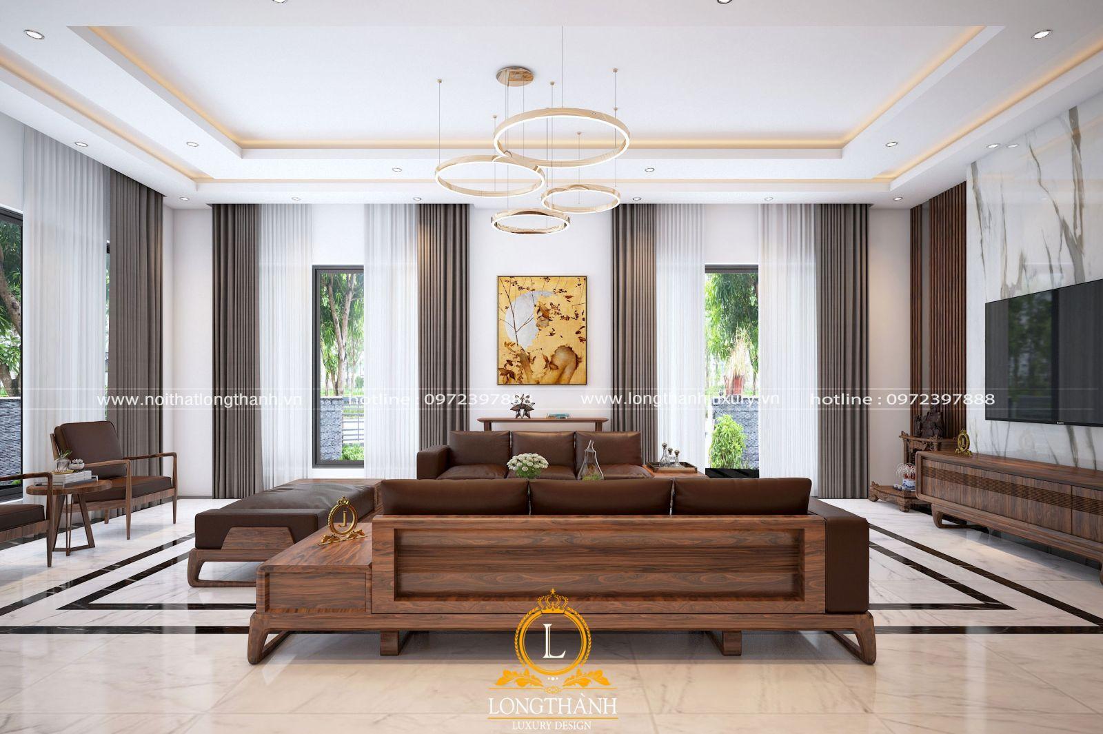 Màu sắc nhẹ nhàng cho phòng khách biệt thự hiện đại