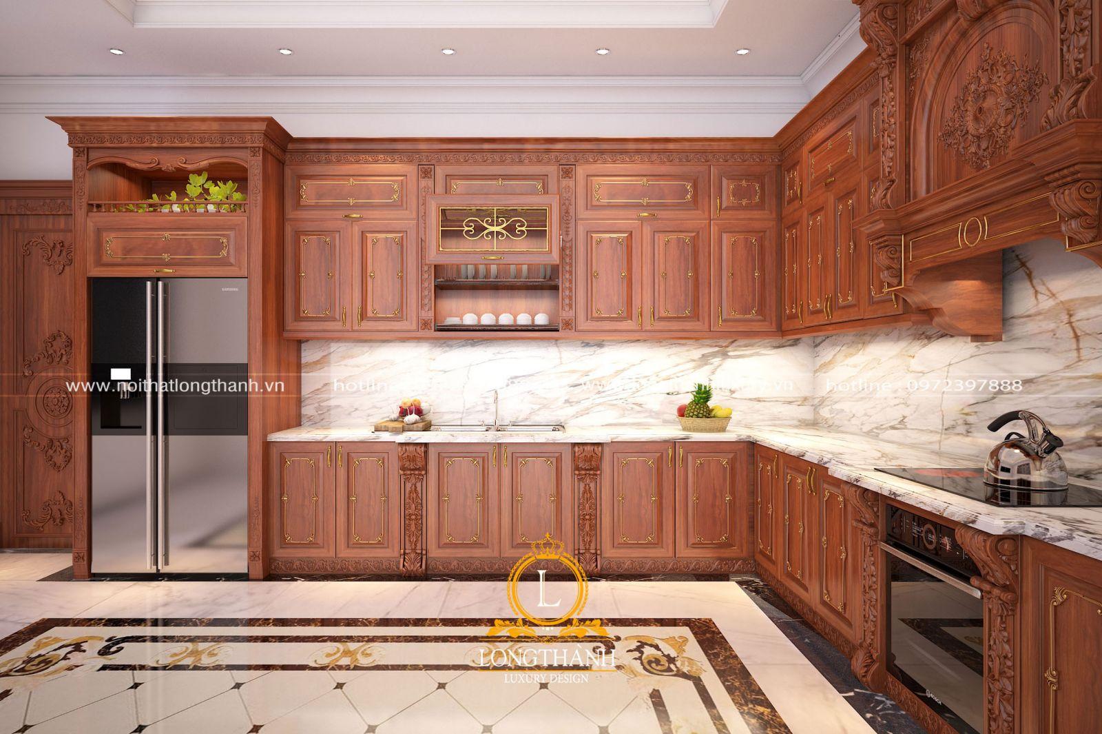 Màu sắc tủ bếp gỗ Gõ đem đến cho không gian sự ấm cúng