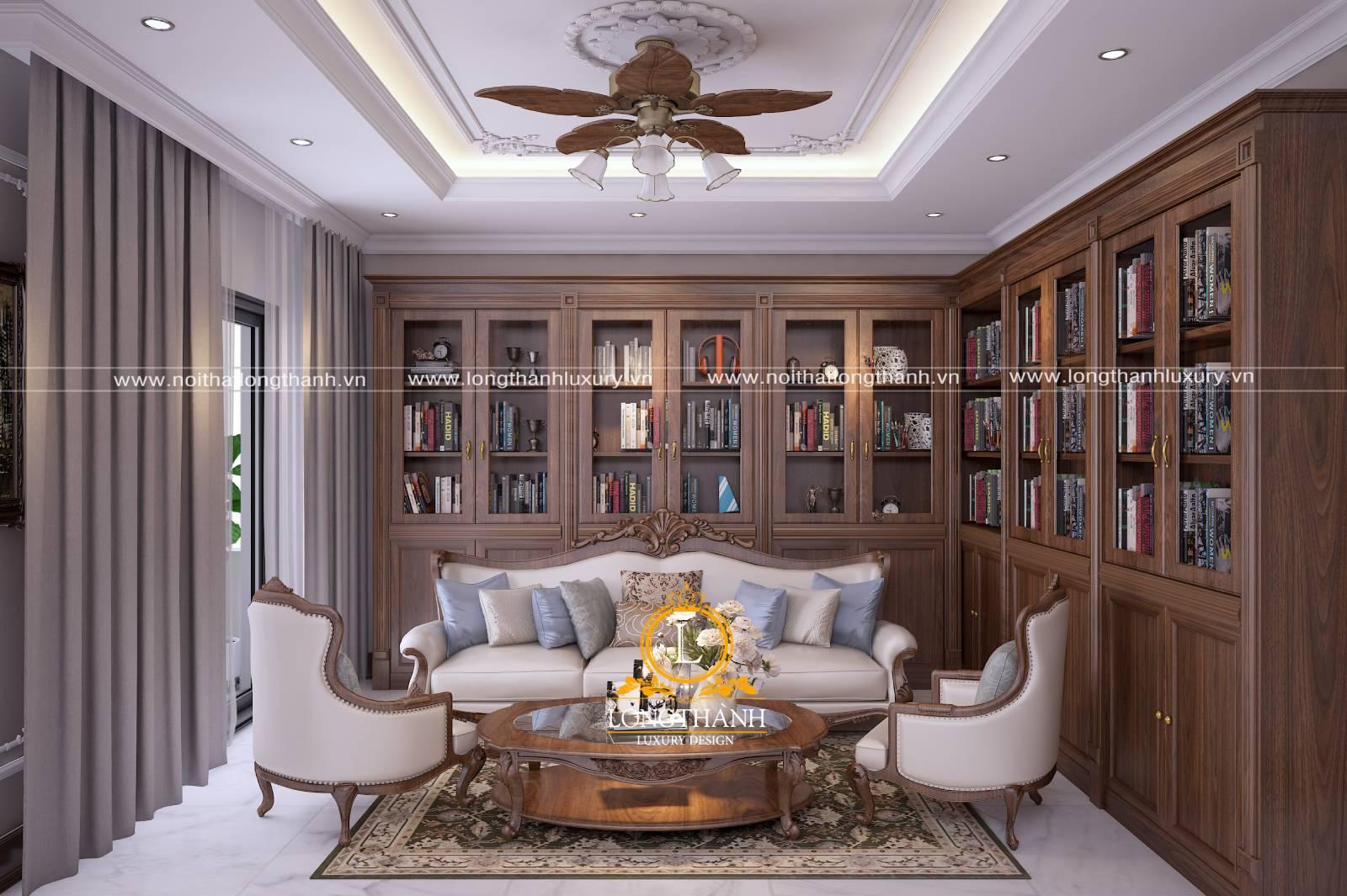 Mẫu sofa bằng gỗ và vải nỉ cho phòng khách chung cư