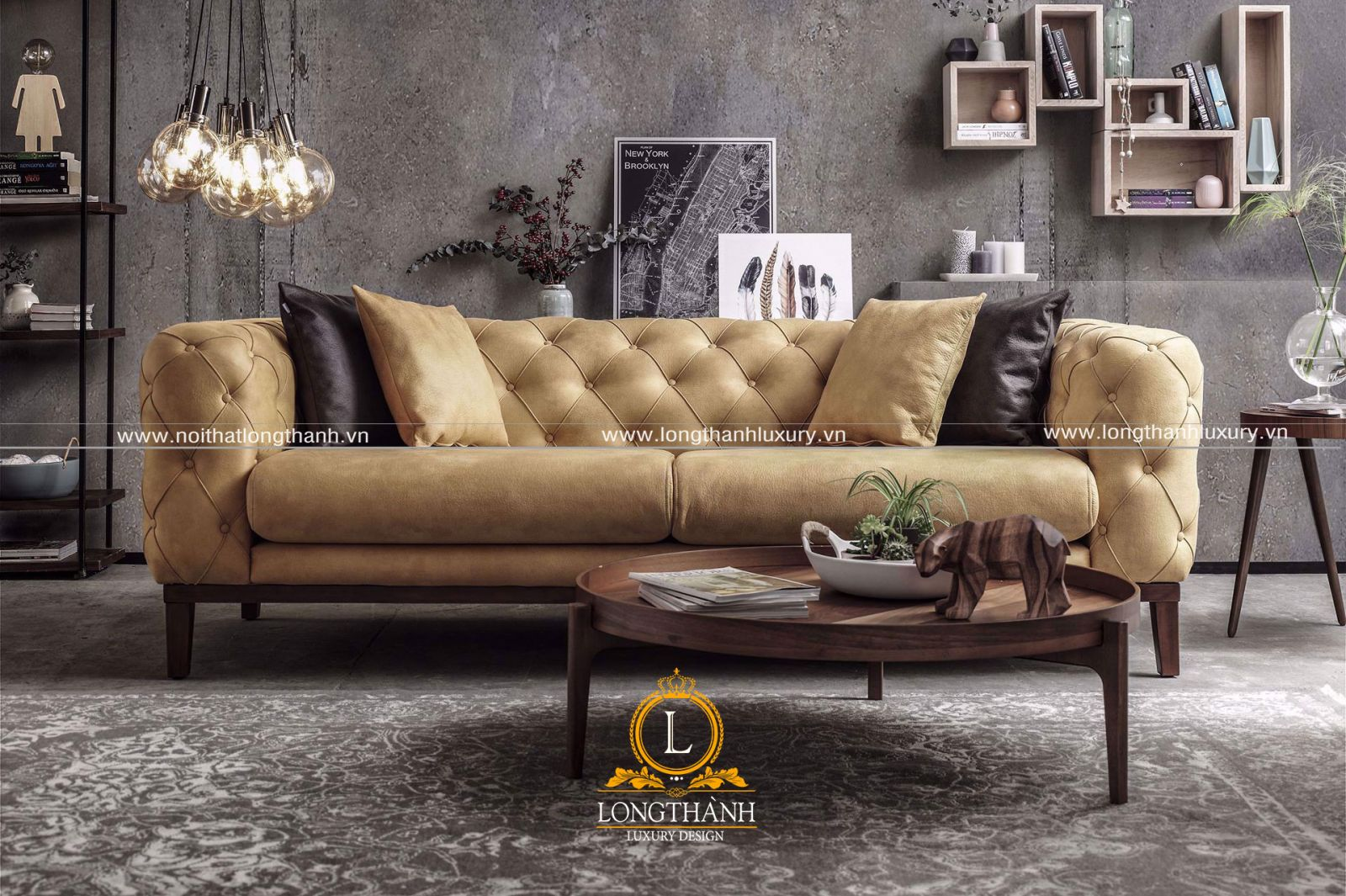 Sofa văng tân cổ điển bọc nỉ sang trọng