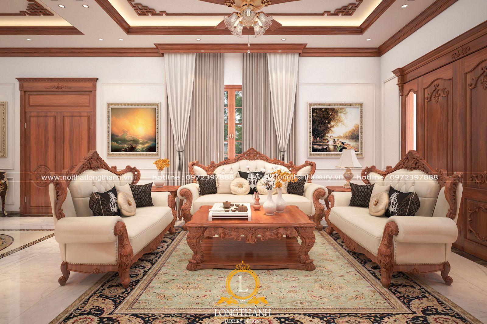 Mẫu sofa cho phòng khách tân cổ điển nhà ống
