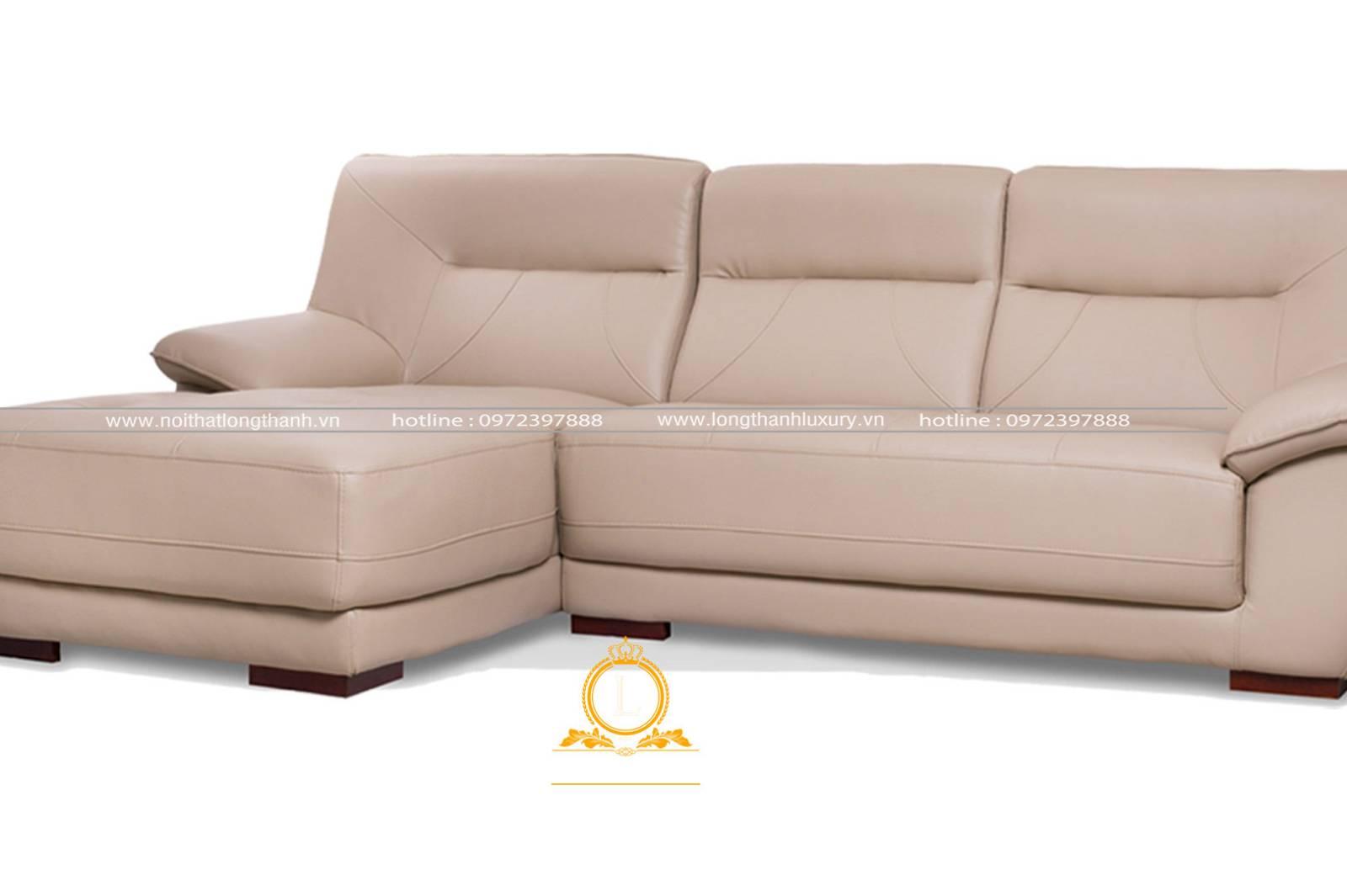 Mẫu sofa da màu trắng cho phòng khách tân cổ điển