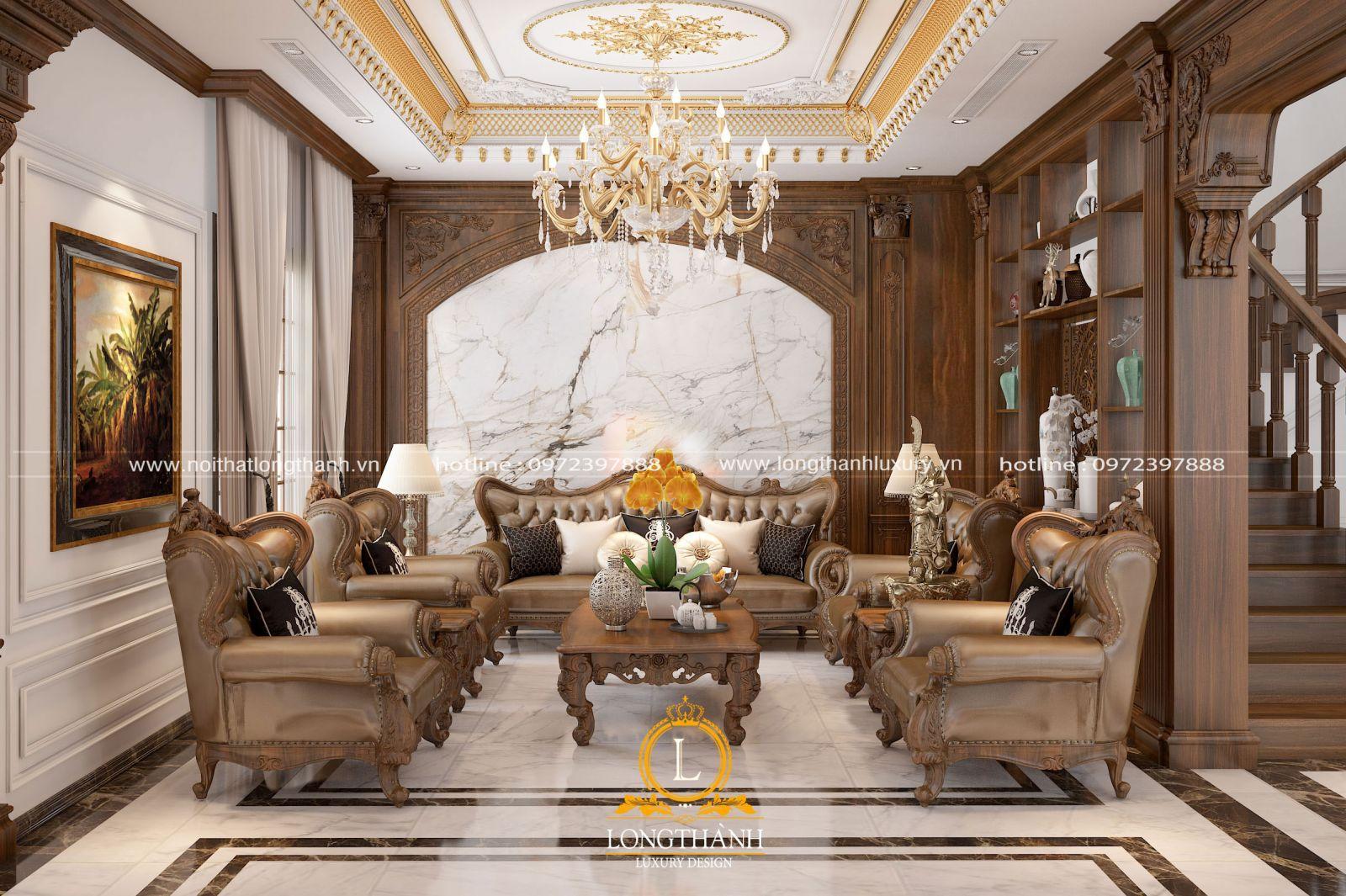 Phòng khách biệt thự khi trang trí nội thất tạo nên vẻ đẹp lộng lẫy
