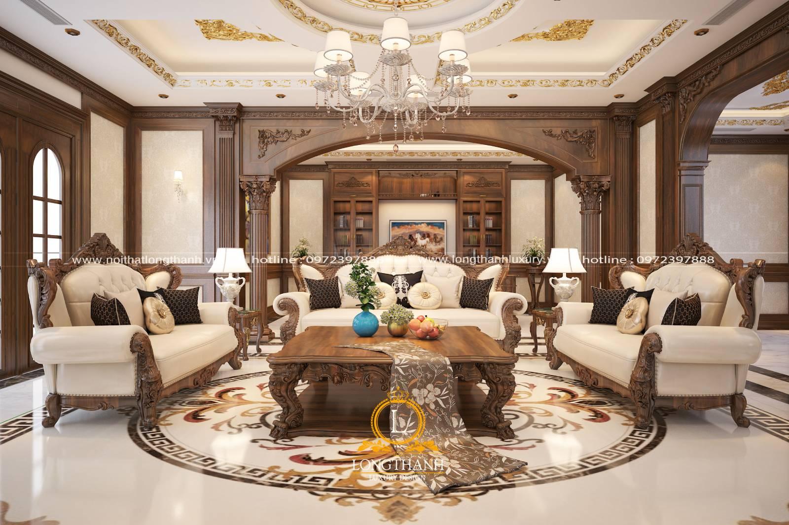 Mẫu sofa được đặt đối xứng giữa nhà tạo sự hài hòa cân đối