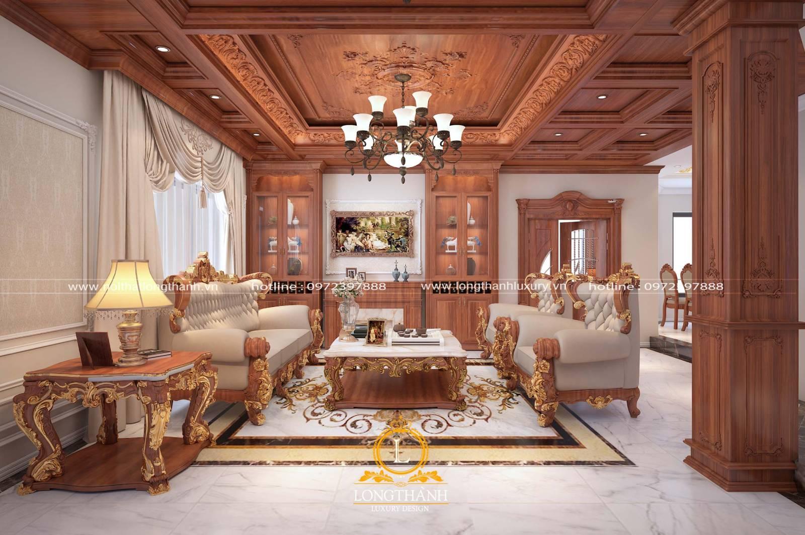 Mẫu sofa gỗ bọc da bên ngoài dành cho phòng khách rộng