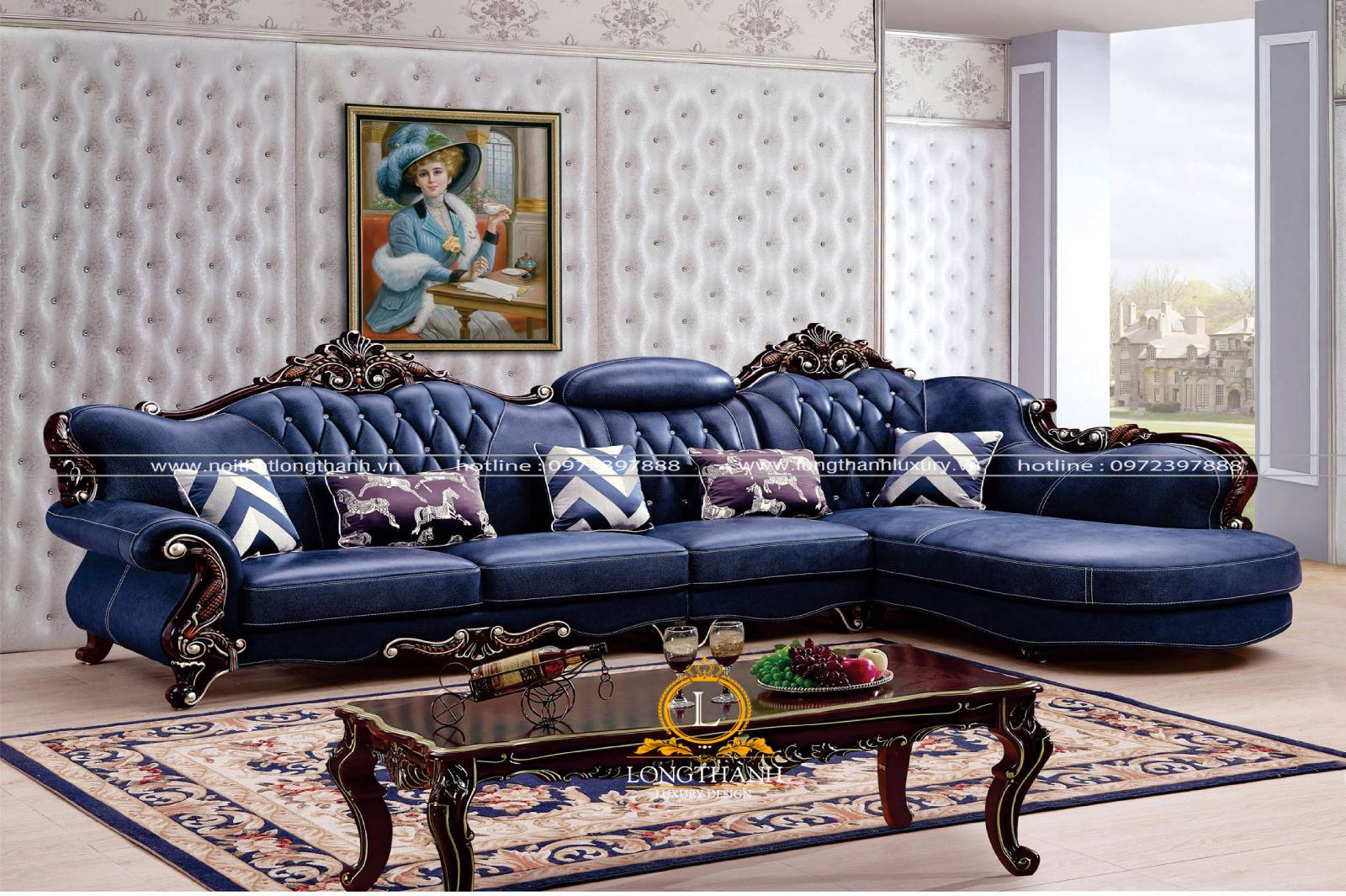 Mẫu sofa góc L phong cách cổ điển chất liệu da tự nhiên