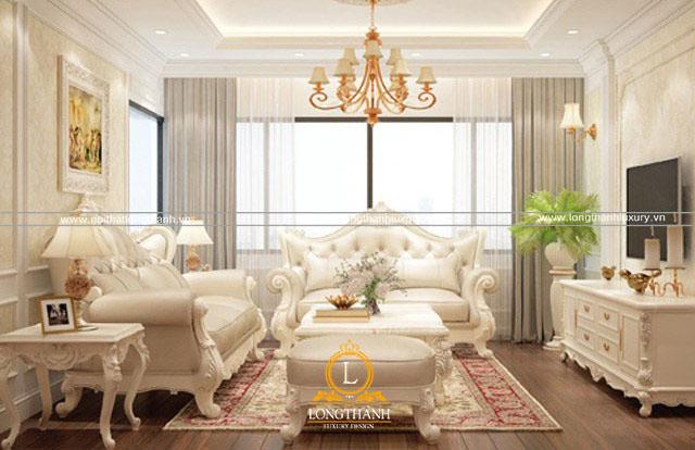 Mẫu sofa màu trắng tân cổ điển cao cấp