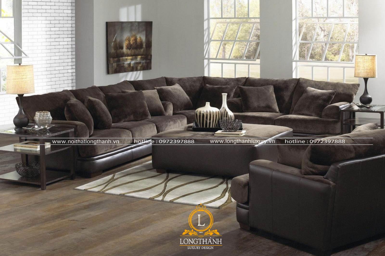 Sofa nhung màu đen xám đặt theo hình góc L kết hợp một ghế văn đôi