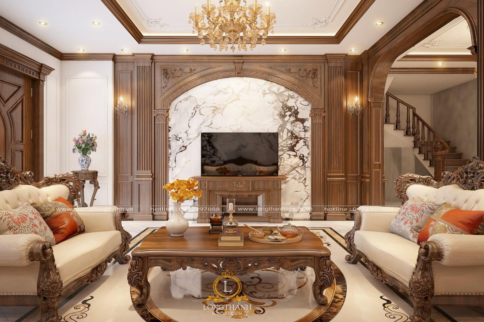 Bộ sofa tân cổ điển là điểm nhấn chính cho ngôi nhà