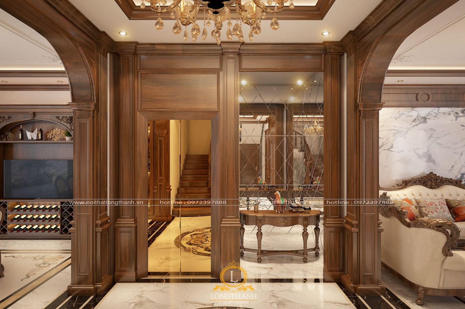 Khônggian phòng khách tân cổ điển đẹp với nhiều chi tiết ốp gỗ tự nhiên