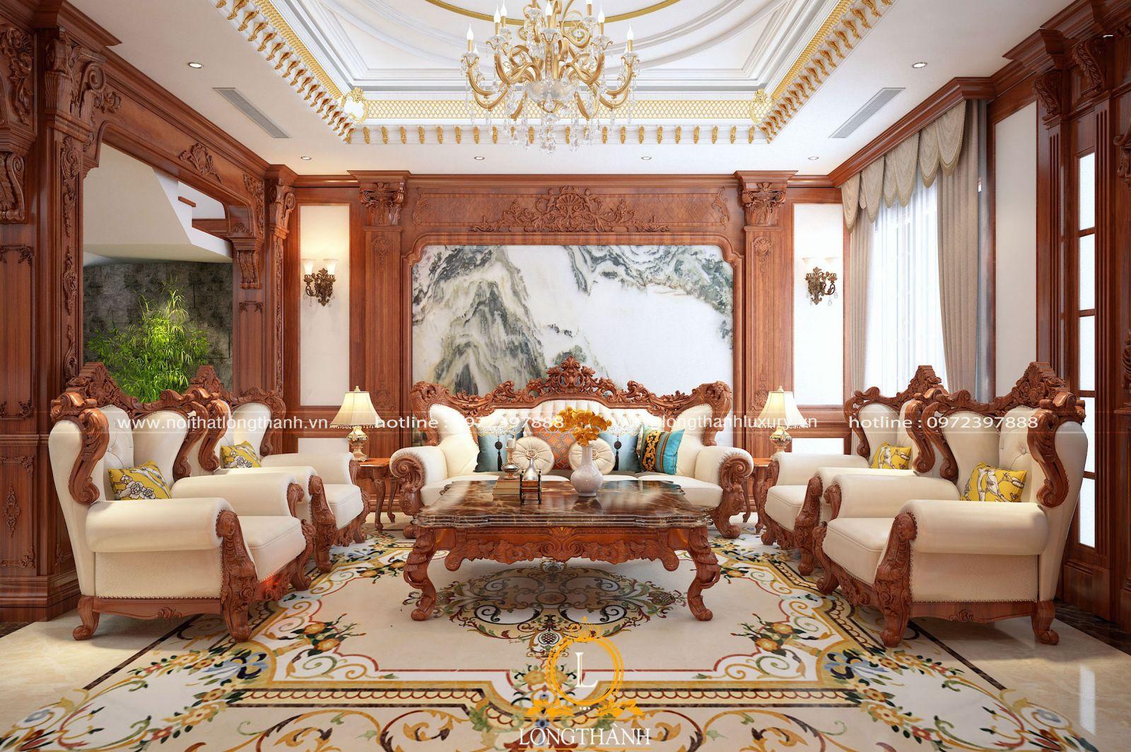 Trần thạch cao phòng khách tân cổ điển dát vàng lộng lẫy