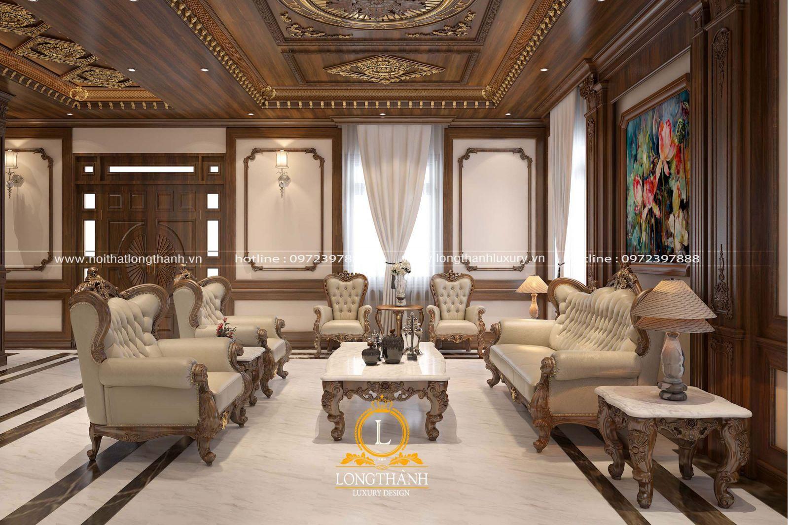 Bộ sofa tân cổ điển thiết kế cân đối và phù hợp cùng diện tích không gian phòng khách