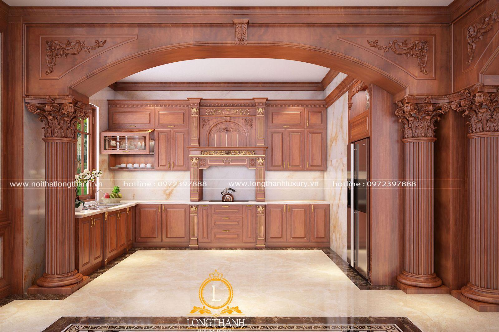 Mẫu thiết kế không gian phòng bếp đầy đủ ánh sáng