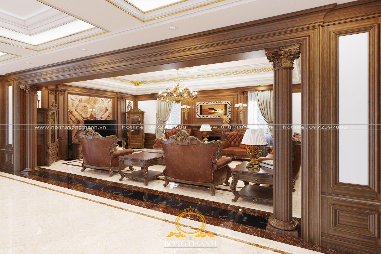 Bộ sofaluôn là điểm nhấn chính cho phòng khách tân cổ điển