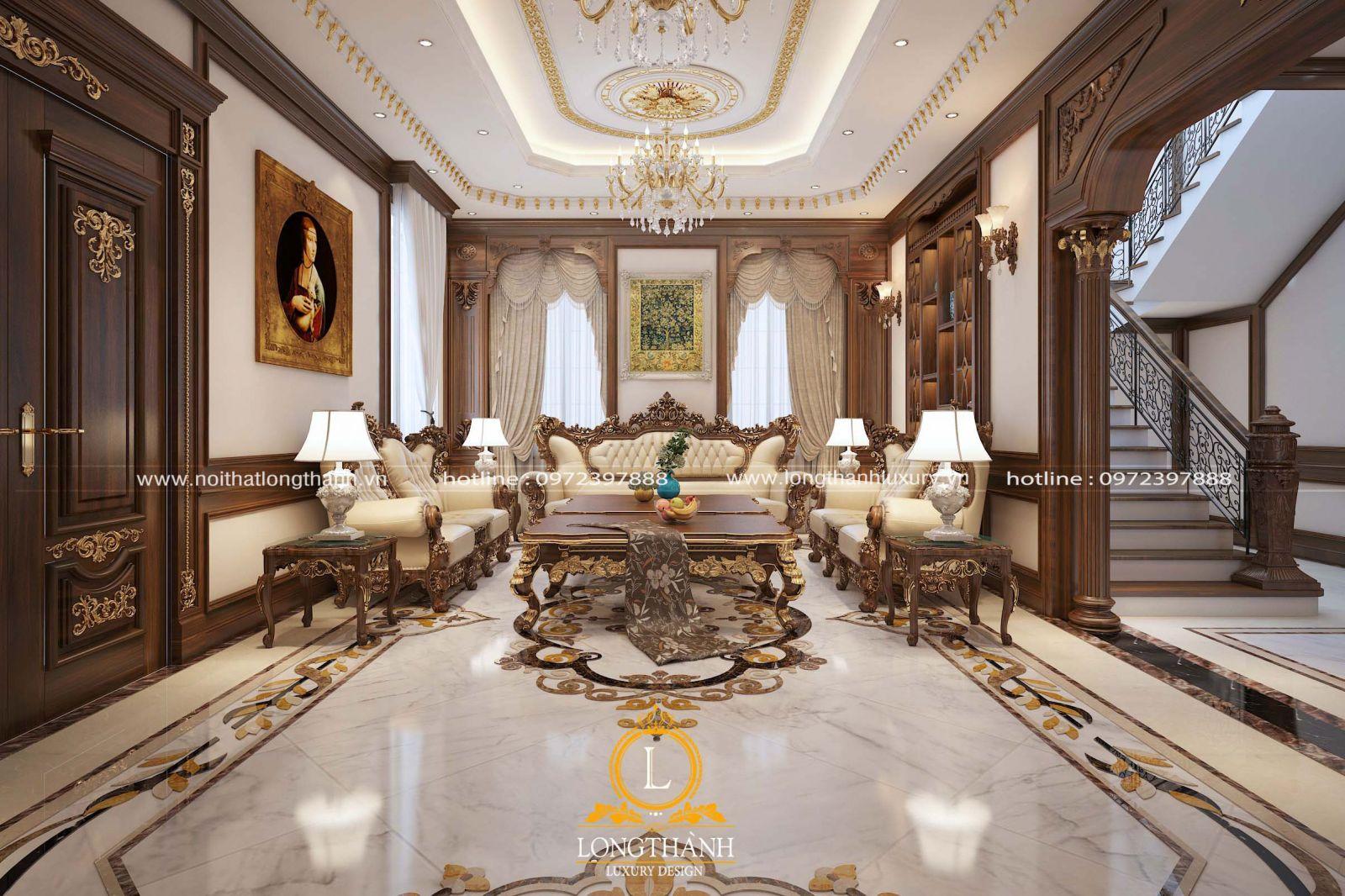 Phòng khách được bố trí bộ sofa cân đối và phù hợp với diện tích kiến trúc thực tế