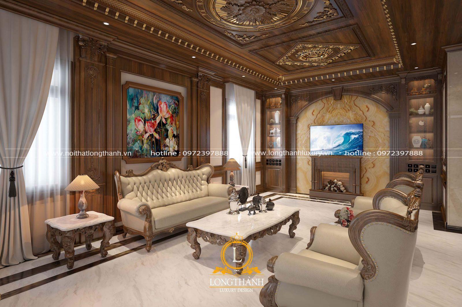 Không gian phòng khách tân cổ điển đẹp nhẹ nhàng và tinh tế